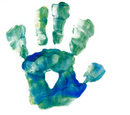 Child's hand print - the young magicians with hemiplegia at Breathe Magic camp exercise their affected hand through performing magic.