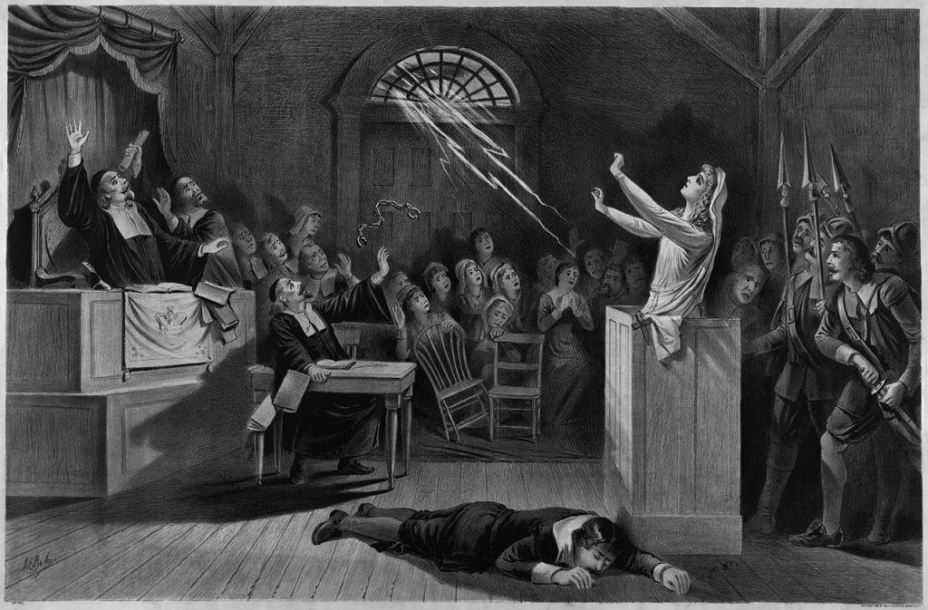 Debunkers and believers in a Salem witch trial etching