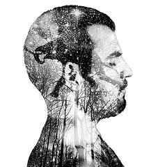 Barış Kemal Kirik illustration of a man in profile with closed eyes  to illustrate the task of character development for performers.