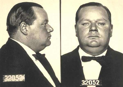 Fatty Arbuckle in profile character development mug shot example.