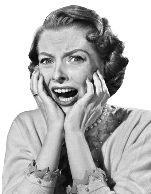 A 1950's woman says get over stage fright screaming about stage fright tips.