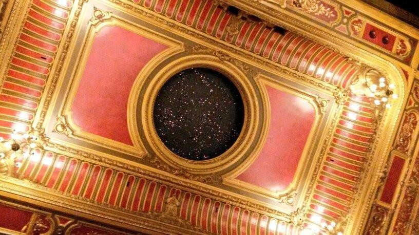 Hackney Empire starry sky over stalls during tour