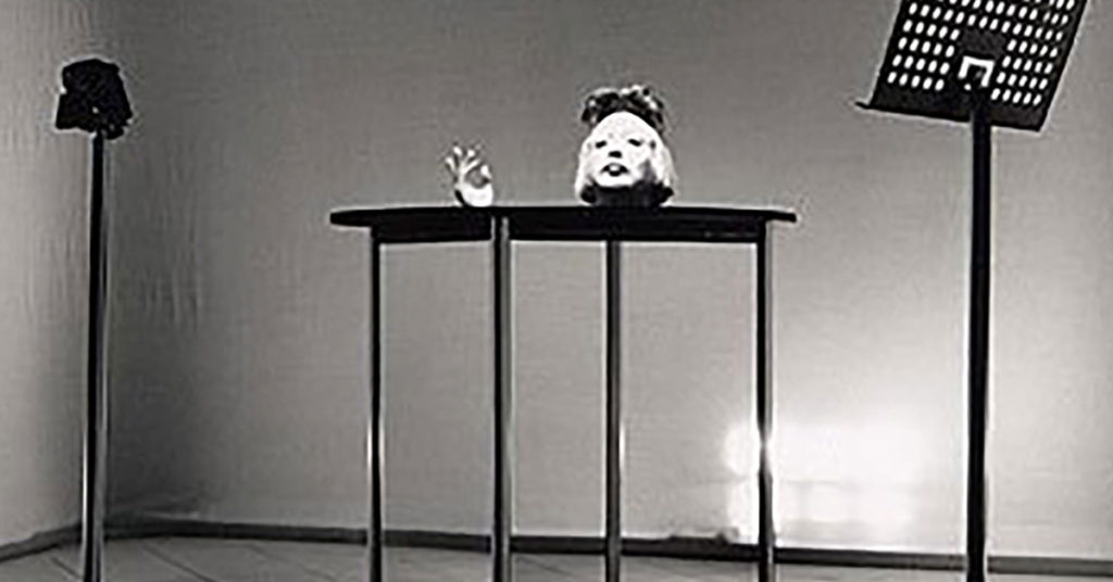 Orlan head on table at ICA
