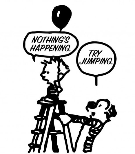 Cartoon with boy on ladder ready to jump about how to escape your comfort zone.