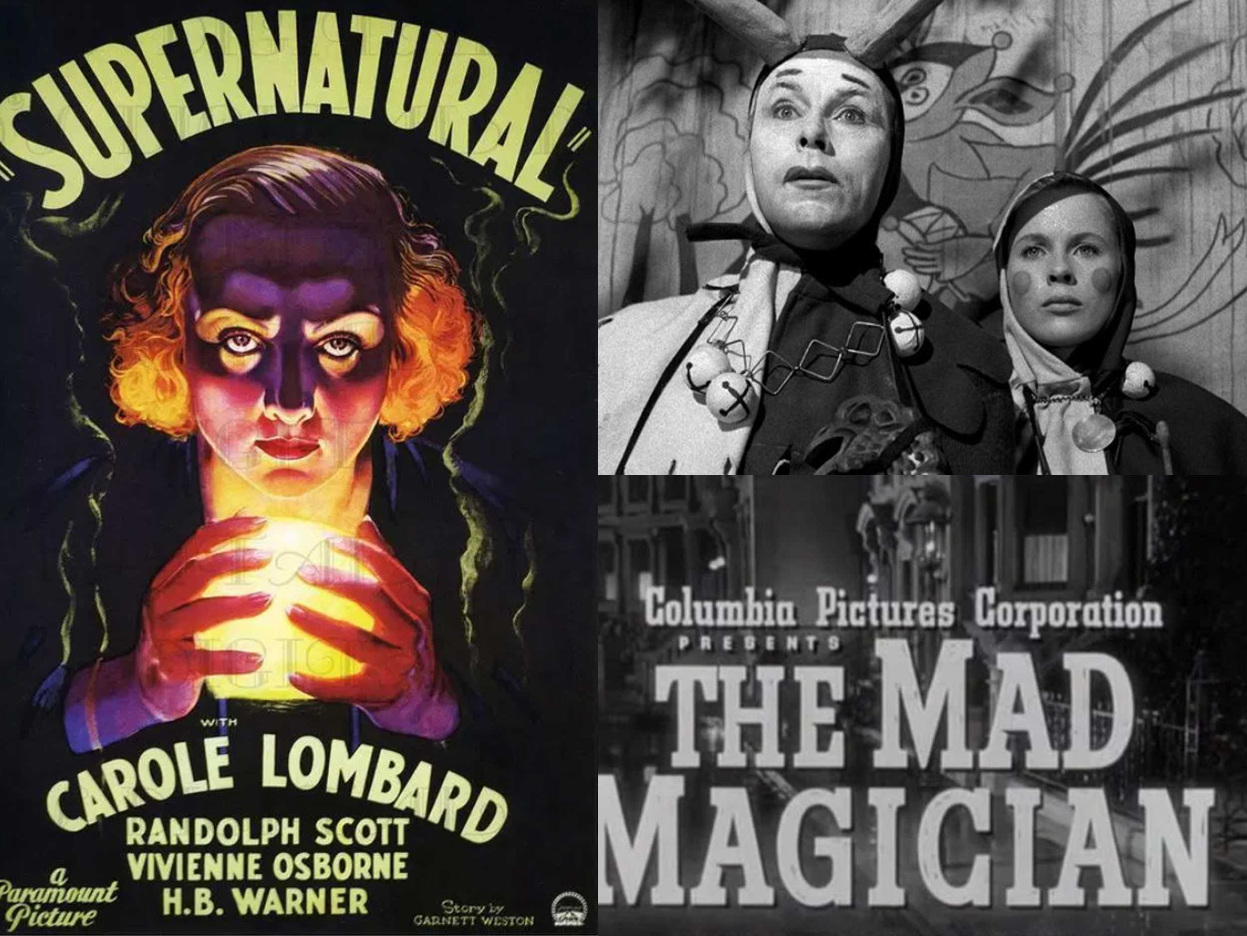 Three images from magician themed films