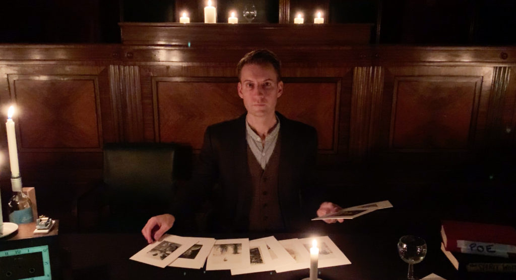 Seance magic photo in London with Howell seated in show