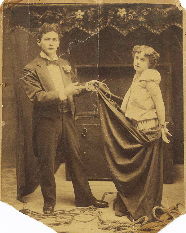 Houdini and Bess in a promotional shot for their trunk escape.
