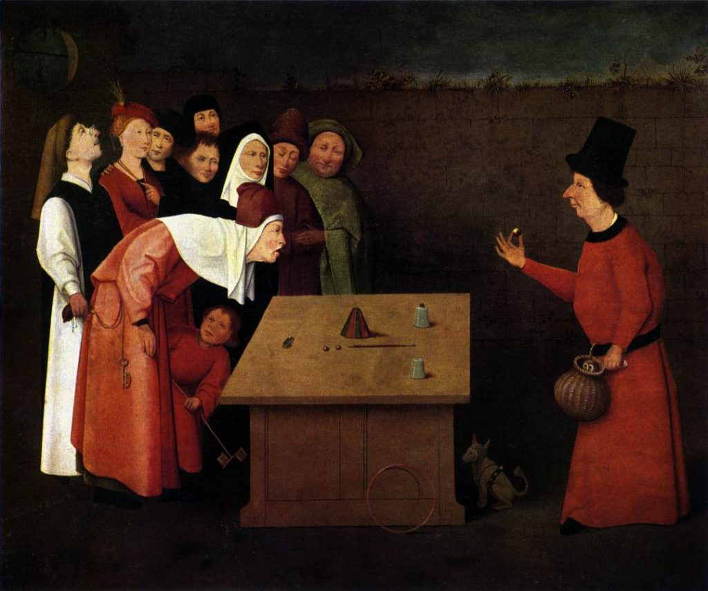 close up magic history is shown in this Bosch painting of a 16th C magic show