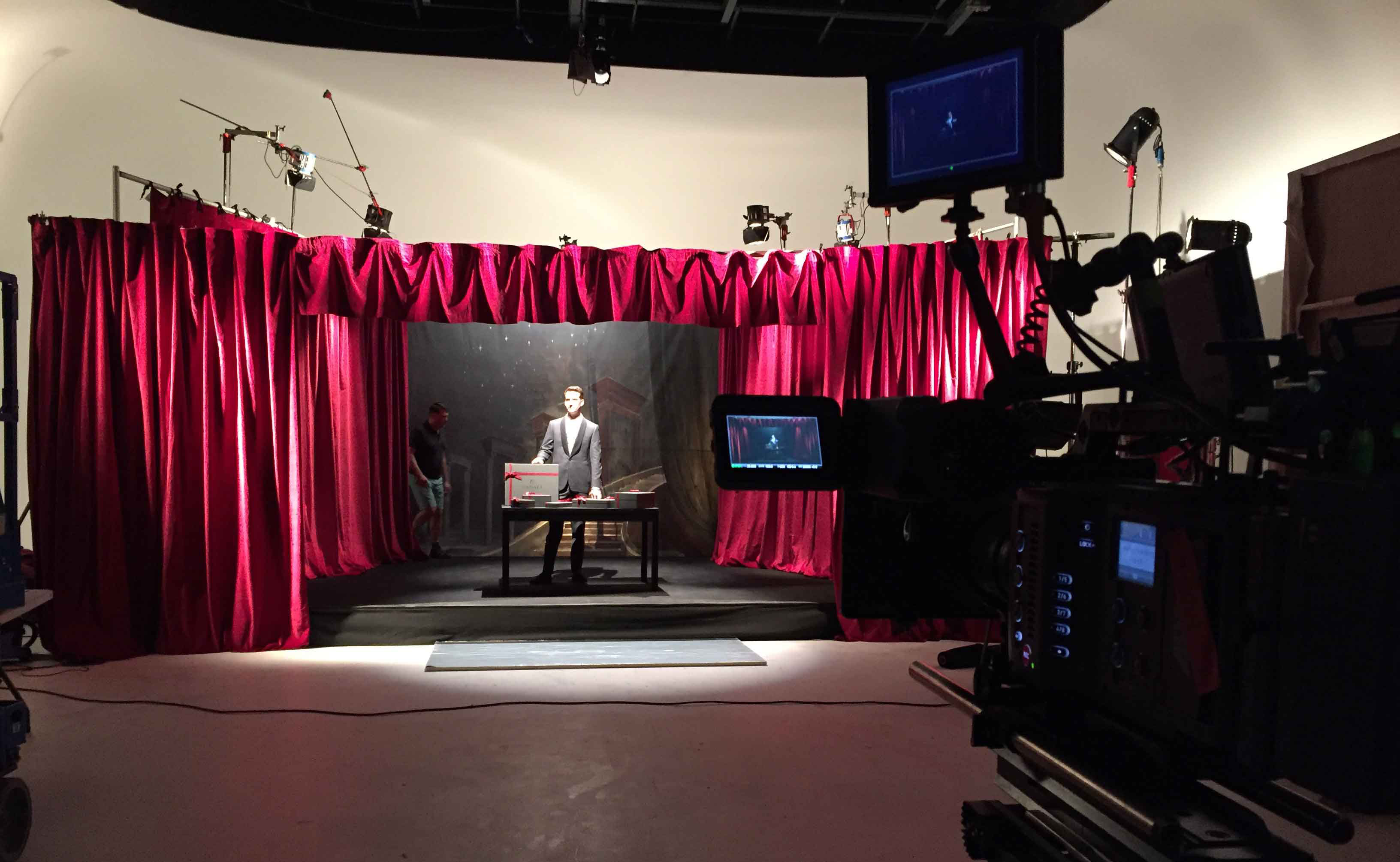 Magic consultant Christopher Howell waits on the sound stage in front of camera for the Canali Commercial.